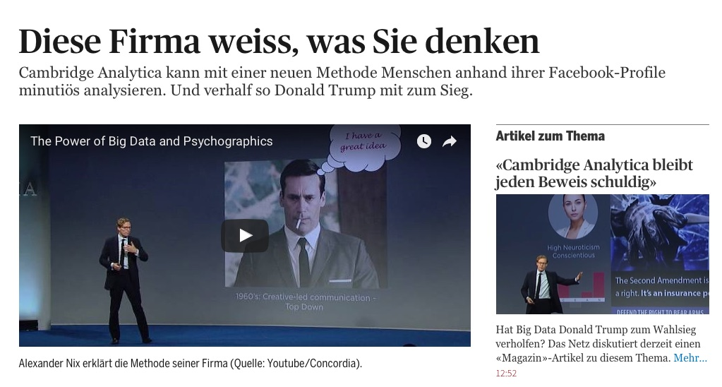 Tagesanzeiger Cambridge Analytica