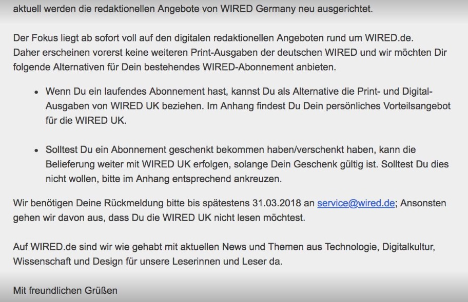 Goodbye Wired Germany Indiskretion Ehrensache