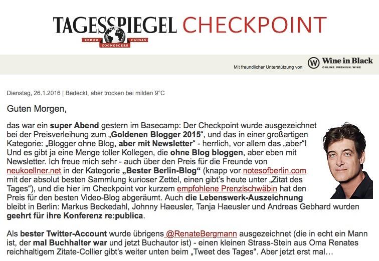 Tagesspiegel Checkpoint Maroldt Goldene Blogger