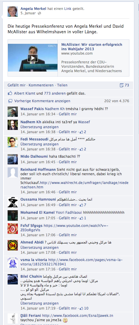 angela merkel facebook tunesien