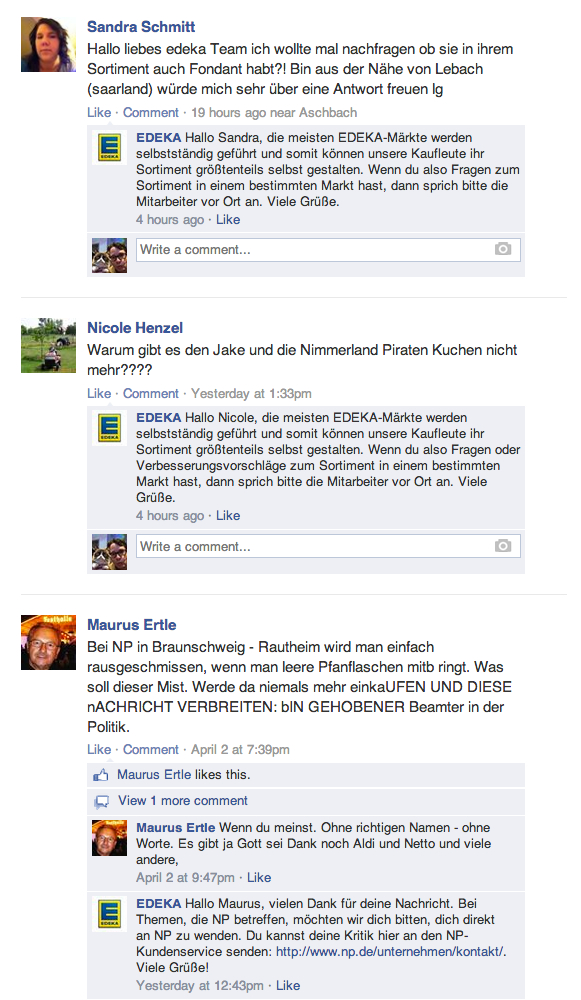 edeka facebook customer Service