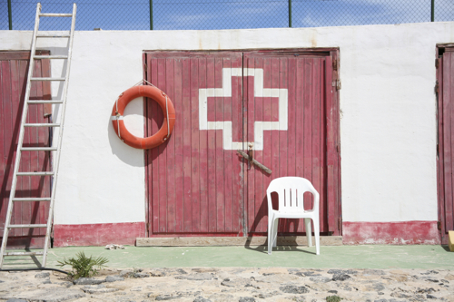 Life Guard Hut and first aid at the beach in Fuerteventura.